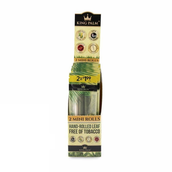 King Palm Mini Pre-Rolled Cone Display - 20 Packs Per Box, 2 Wraps Per Pack
