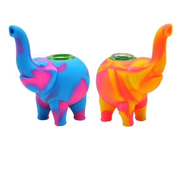Silicone Elephant Pipes with Glass Bowls