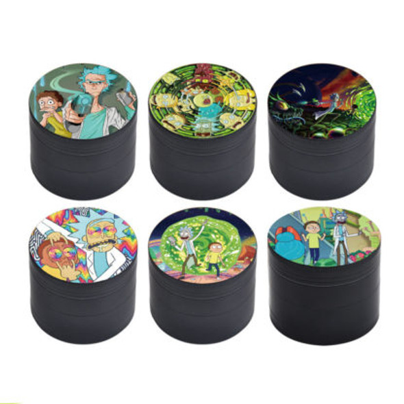 """50mm """"Rick And Morty"""" Four Piece Grinder - Assorted Designs"""