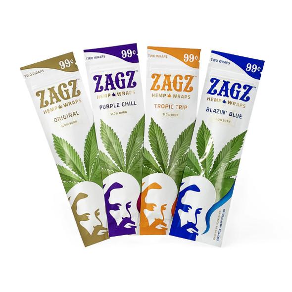 Zig Zag Zagz Hemp Wraps - 25 Packs Per Box, 2 Wraps Per Pack