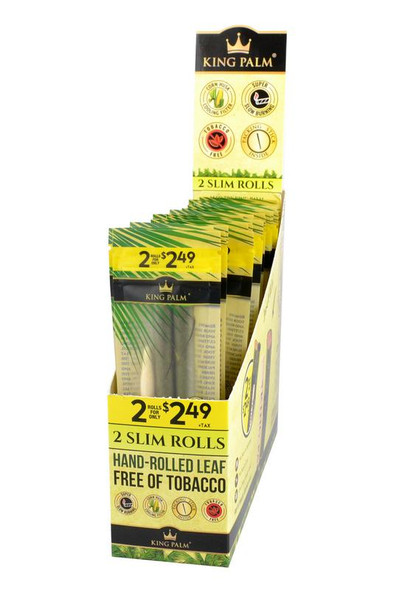 King Palm Slim Pre-Rolled Cone Display - 20 Packs Per Box, 2 Wraps Per Pack