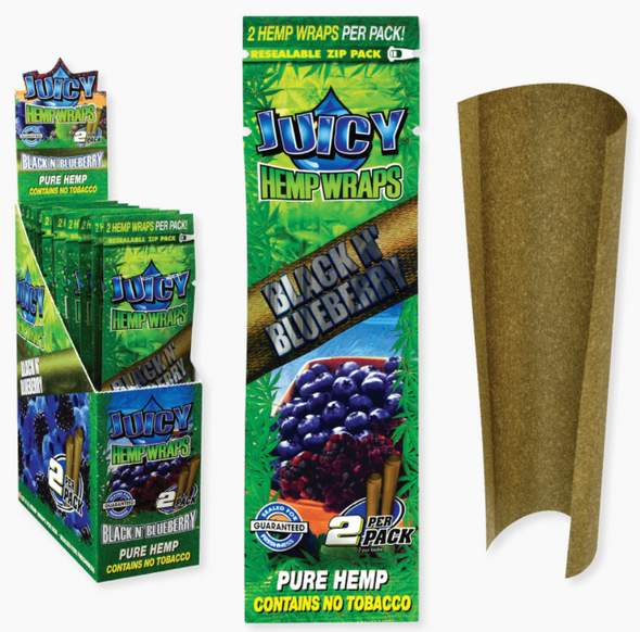 Juicy Jay's Hemp Wraps - 25 Packs Per Box, 2 Wraps Per Pack