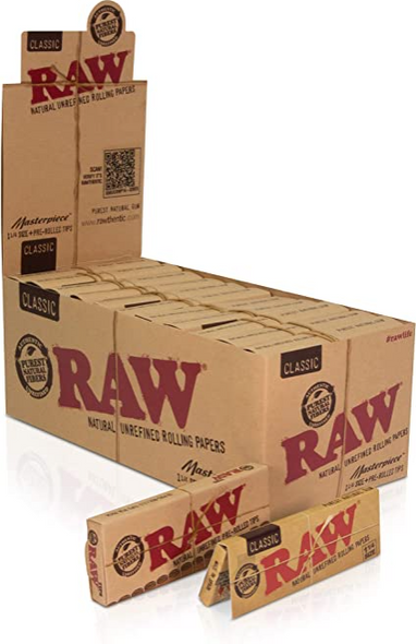 """RAW Classic Masterpiece Rolling Papers with Pre-Rolled Tips 1¼"""" Size - 24 ct."""