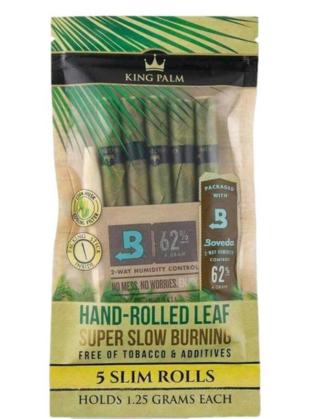 King Palm Slim Pre-Rolled Cone Pouch - 15 Packs Per Box, 5 Wraps Per Pack