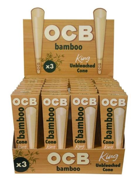 OCB Bamboo Pre-Rolled Cones King Size - 32 Packs Per Box, 6 Cones Per Pack