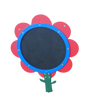 The Daisy with red petals and blue trim