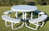 """46"""" Round Solid Top w Punched Steel Seats"""