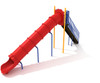 8' Straight Tube Slide with Primary Red plastic, Sunglow Yellow posts and Pacific Blue rails