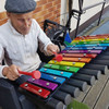 The Cavatina has rainbow-colored notes that are perfect fo those learning music with a rainbow color coded scale.