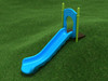 4' Single Straight Slide with Sky Blue plastic and Lime Green posts