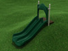 4' Double Straight Slide with Rainforest Green plastic and Tan posts