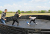 The flooring offers a safer play area for all of your Gaga Ball Pit players