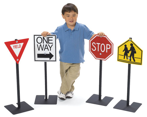 Angeles Traffic Signs Set 1 includes: Yield, Stop, One Way, School Crossing