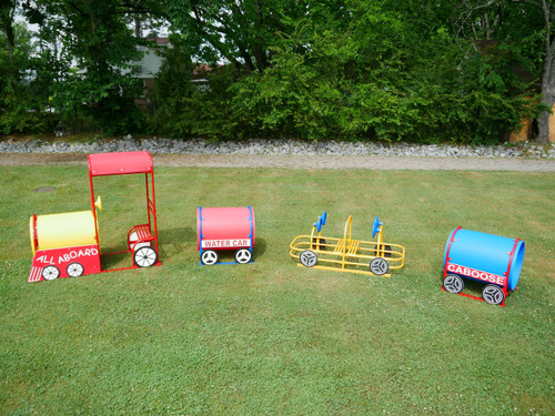 Four Piece Train Set Includes Engine, Passenger Car, Water Tank and Caboose