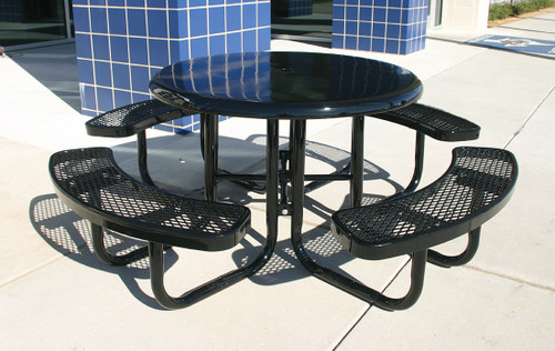 """46"""" Round Solid Top w Expanded Metal Seats"""