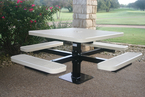 Square Pedestal table with Expanded Metal