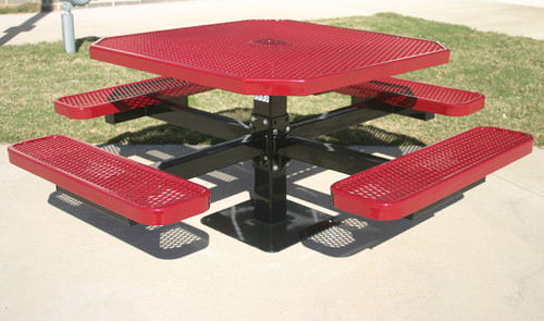 Octagon Pedestal tables look sharp in any outdoor setting