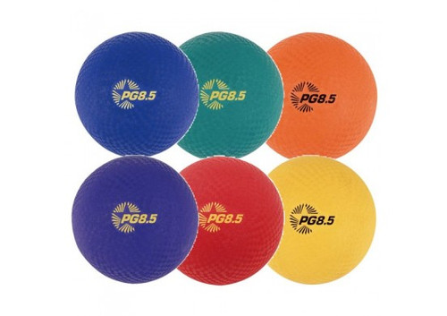 6-Pack Rubber Playground Balls- comes with Blue, Green, Orange, Purple, Red and Yellow
