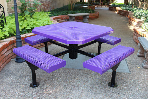 """46"""" Octagon Nexus Pedestal Table with Rolled Seats"""