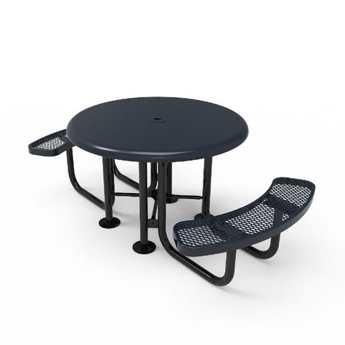 Round Nexus Pedestal Table with Solid Top - Portable- Expanded Metal