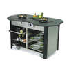 """Creation Station™ Mobile Cooking Cart, 60""""W x 32""""D x 35-3/4""""H, (2) induction heat stoves, 2) adjustable removable pull-out shelves, (3) sets universal pan slides, stainless steel interior, laminated exterior, solid resin top with recessed area, includes bin, 5"""" Lake-Glide® No-Mark® polyurethane swivel casters (2) with brakes, ETL, Made in USA"""