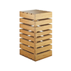 """Display Crate Tower, 9""""W x 9""""D x 18""""H, square, slotted sides for shelving, open base, solid top, can be flipped and used a crate basket, bamboo"""