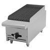 """Charbroiler, natural gas, countertop, 12""""W, (1) 16,000 BTU burner, reversible & removable cast iron grates, cast iron angled radiants, manual controls, full width drip tray, pressure regulator, stainless steel burners, front, sides & landing ledge, adjustable feet, 16,000 BTU, cETLus, (ships with LP conversion kit) Made in North America"""