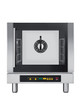 """Eka 4-tray, half-size (13x18) convection oven with steam injection and digital controls.  Stainless steel construction.  Left-opening (right-hinged) door.  Auto-reversing, bi-directional fan.  Four 13"""" x 18"""" grids included."""