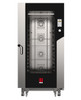 """Eka Millennial 16-tray full-size (18x26) roll-in electric combi-oven with left-opening (right-hinged) door.  Includes roll-in trolley, sixteen 18"""" x 26"""" stainless-steel grids, multi-point core probe, components necessary to connect to water supply, and standard drain components."""