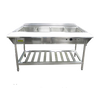 """Water Bath Steam Table Starter Kit, 57-1/4""""W x 26""""D x 34-1/4""""H, 4-compartment, 12"""" x 20"""" x  8-1/2"""" deep wells (EST-240), 9"""" wide polycarbonate cutting board with shelf (EST-240/PCB), 4-rail tray slide holder (EST240/TH), thermostatic control dial, low water cutoff sensor with reset button, 304 stainless steel fully welded water pan, single heating element, 3/4"""" drainage pipe, adjustable legs with bullet ends, undershelf, stainless steel, includes bonus package: (4) full size 4"""" deep food pans with lids, (1) stainless steel 13"""" solid basting spoon, (1) stainless steel 13"""" slotted spoon, and (2) 12"""" scalloped edge tongs, 208v/240v/60/1-ph, 3000 watt, 12.5 amp, NEMA 6-20P, CE (SPECIAL ORDER) (ships Knocked-Down). SHOWN WITH EST-240 Steam Table"""