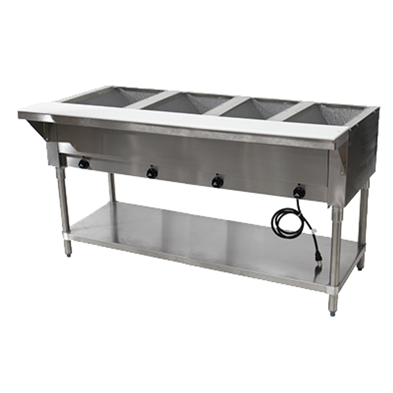 """Hot Food Table, electric, 62-7/16""""W x 30-5/8""""D x 34-3/8""""H, (4) 12"""" x 20"""" wells (accommodates pan inserts up to 7-3/4"""" deep), individual infinite controls, stainless steel top,  stainless steel 8""""D support shelf with removable 3/8"""" thick poly cutting board, galvanized open base with undershelf, UL, NSF (120v)"""