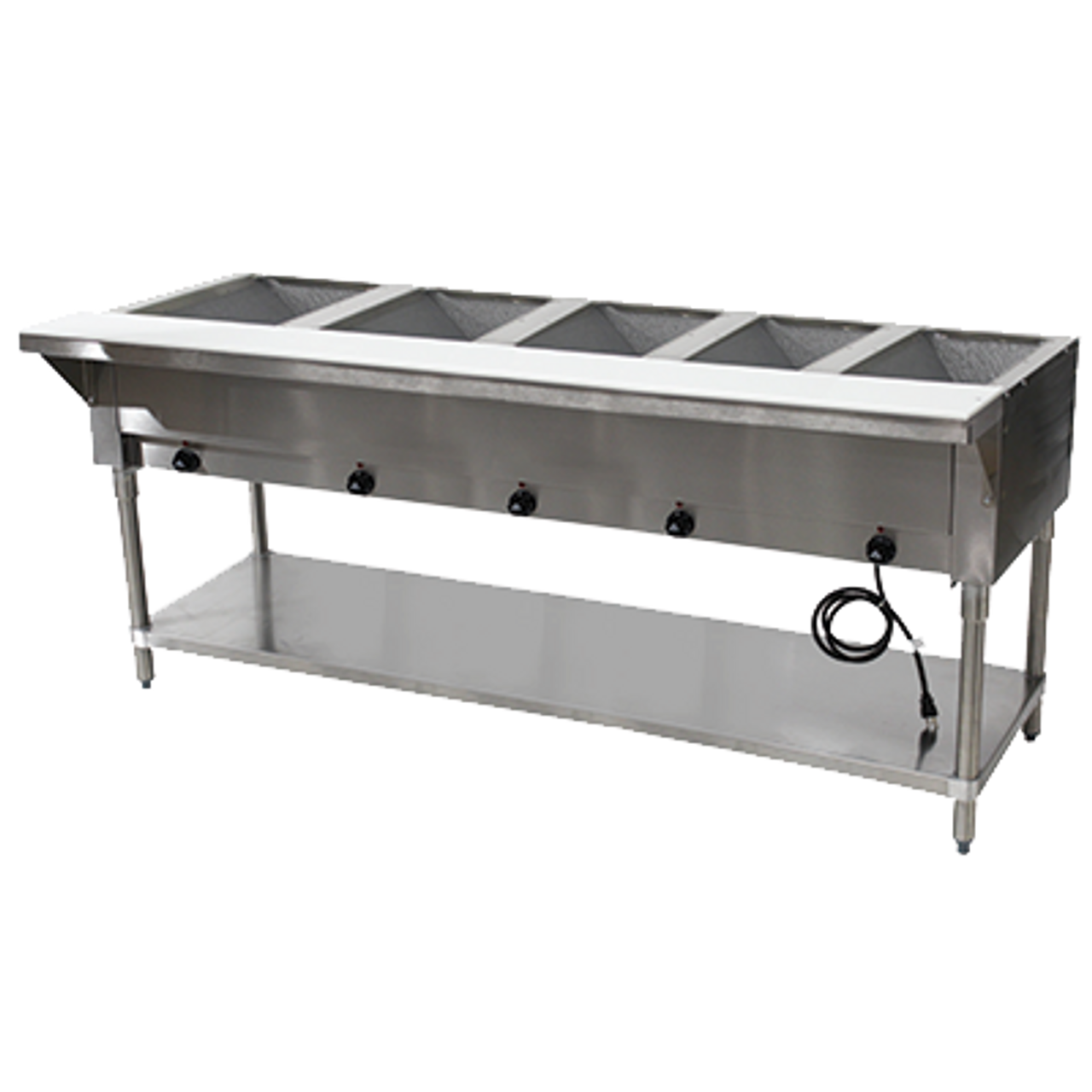 """Hot Food Table, electric, 77-3/4""""W x 30-5/8""""D x 34-3/8""""H, (5) 12"""" x 20"""" wells (accommodates pan inserts up to 7-3/4"""" deep), individual infinite controls, stainless steel top,  stainless steel 8""""D support shelf with removable 3/8"""" thick poly cutting board, galvanized open base with undershelf, UL, NSF (208-240v)"""