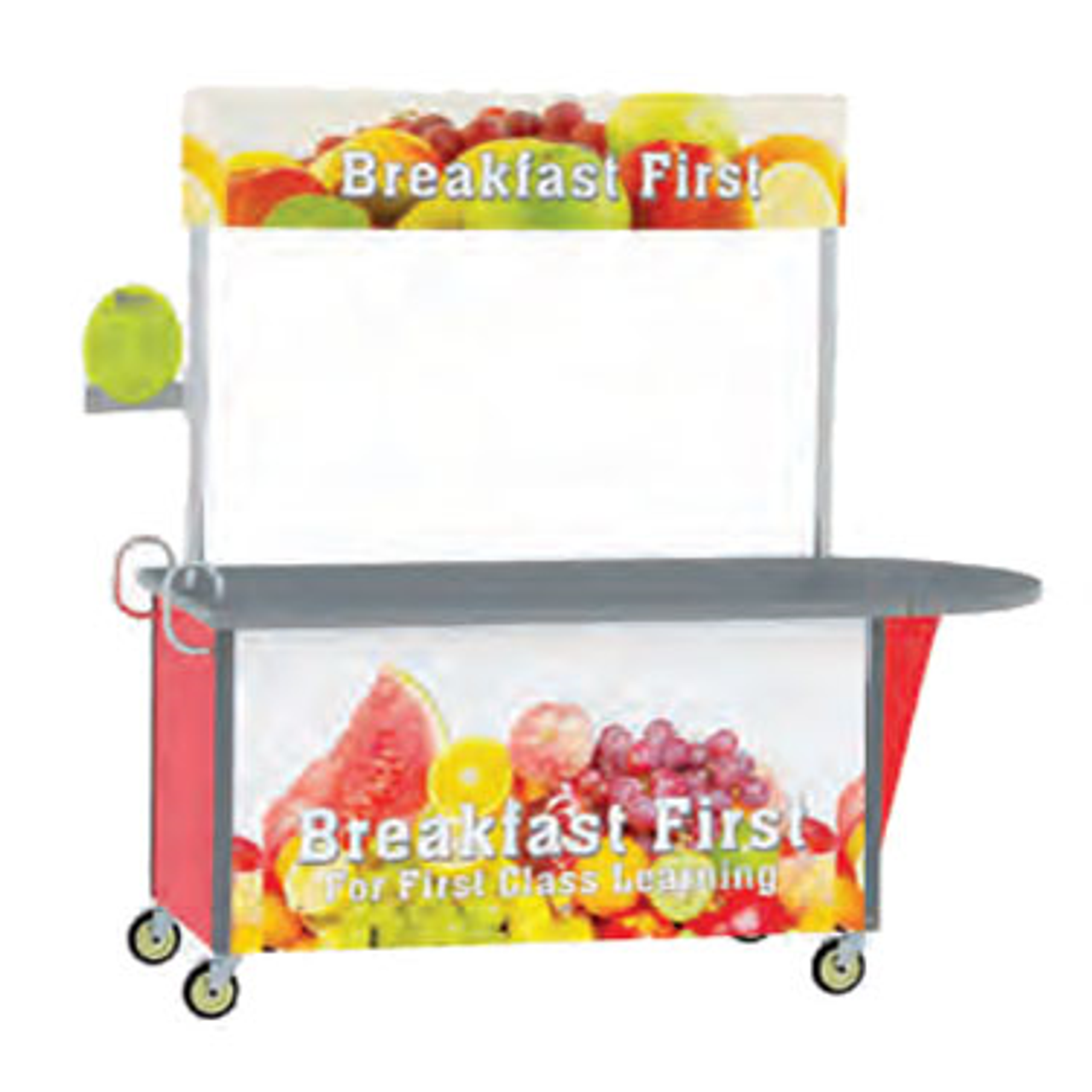 """Breakfast/Snack Cart, 65-1/2""""W x 35-1/2""""D x 80""""H, black laminate flat top, adjustable 65""""W x 12""""H overhead graphic banner on stainless steel posts, 20 gauge stainless steel cabinet base with laminate exterior, stainless steel interior compartment with 18 gauge floor, (2) ergonomic vertical push handles, (2) swivel & (2) swivel/brake 5"""" casters with cushion tread, Made in USA"""