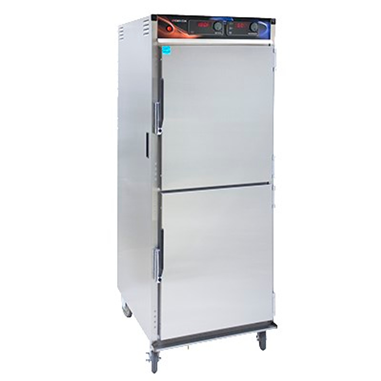 """Cabinet, Mobile Heated, with AquaTemp™ humidity cabinet, insulated, top-mount heater assembly, recessed push/pull handles, magnetic latch, (12) sets of stainless steel wire universal angle slides on 4-1/2"""" adjustable 1-1/2"""" centers, LED digital display, field reversible dutch doors, (4) heavy duty 5"""" swivel casters (2) braked, anti-microbial latches, stainless steel construction, NSF, cCSAus"""