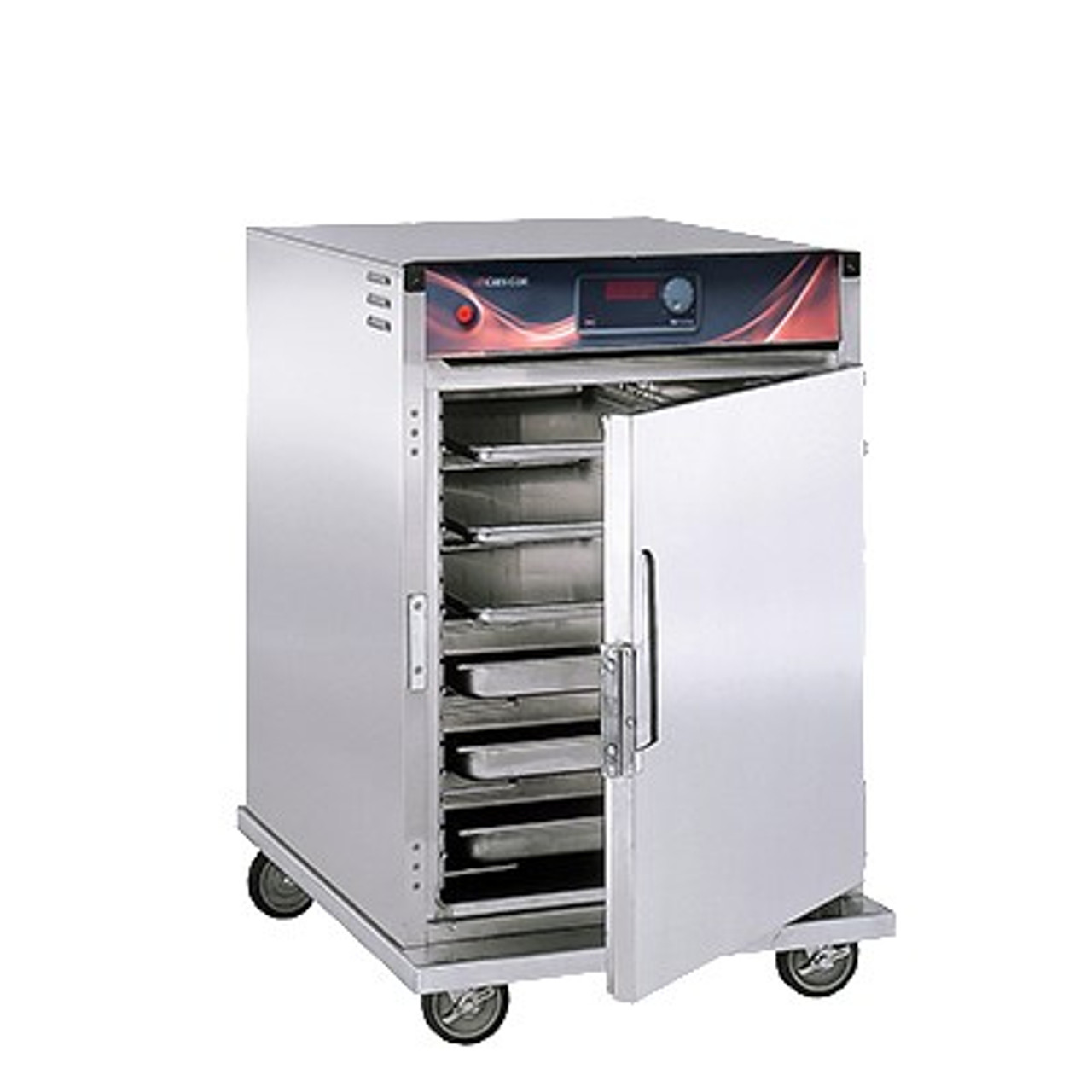 """Cabinet, Mobile Heated, intermediate height, insulated, top-mount heater assembly, magnetic latch, recessed push/pull handles, (9) sets of chrome plated wire universal angle slides on 4-1/2"""" centers adjustable 1-1/2"""" centers, solid state electronic control, LED digital display, field reversible doors, (4) heavy duty 5"""" swivel casters (2) braked, anti-microbial latches, stainless steel exterior & interior, NSF, cCSAus, ENERGY STAR®"""