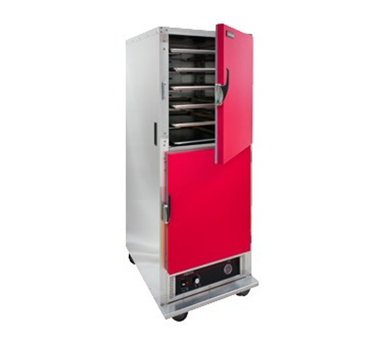 """Cabinet, Mobile Heated, one compartment, insulated, bottom-mount heater assembly, field reversible red dutch doors, recessed push/pull handles, magnetic latch, (11) sets chrome plated wire, 4-1/2"""" centers, adjustable 1-1/2"""" centers, analog thermometer, anti-microbial latches, (4) 5"""" swivel casters (2) braked, stainless steel construction, cCSAus, CSA-Sanitation"""