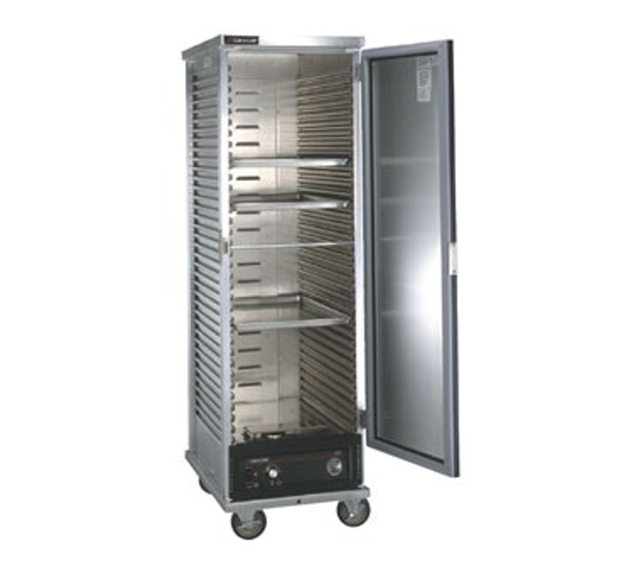 "Cabinet, Mobile Heated, non-insulated with bottom-mounted heater assembly, corrugated sides taking 18"" x 26"" pans, slides on 1-1/2"" centers, capacity (34) 18"" x 26"" pans, (4) 5"" casters (2) braked, aluminum exterior & interior, CSA, cCSAus"