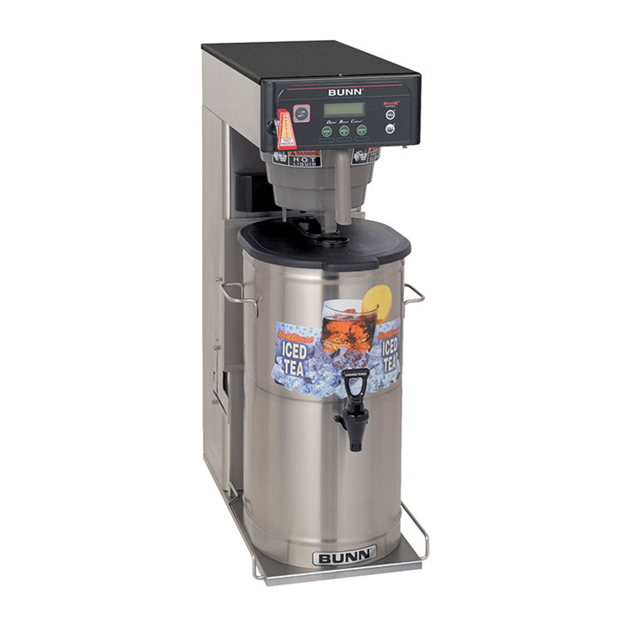"""35700.0019  ITCB-DV Infusion Series® Tea/Coffee Brewer, dual voltage adaptable, 3 or 5 gallon capacity single brewer, 29"""" trunk with flip tray & overlays, full/half batch switches, BrewWISE® intelligence with pre-infusion & pulse brew, Energy-saver mode, English/Spanish alphanumeric & advertising display, brew counter, brews into: BUNN tea dispensers TD4, TD4T, TDS-3, TDS-3.5, TDO-4, TDO-5, TDO-N-3.5 & TDO-N-4 (sold separately) & 1.9 to 3.8 litre airpots, operates at 120v (15amp), or 120/208v-240v (20amp), NSF, UL"""