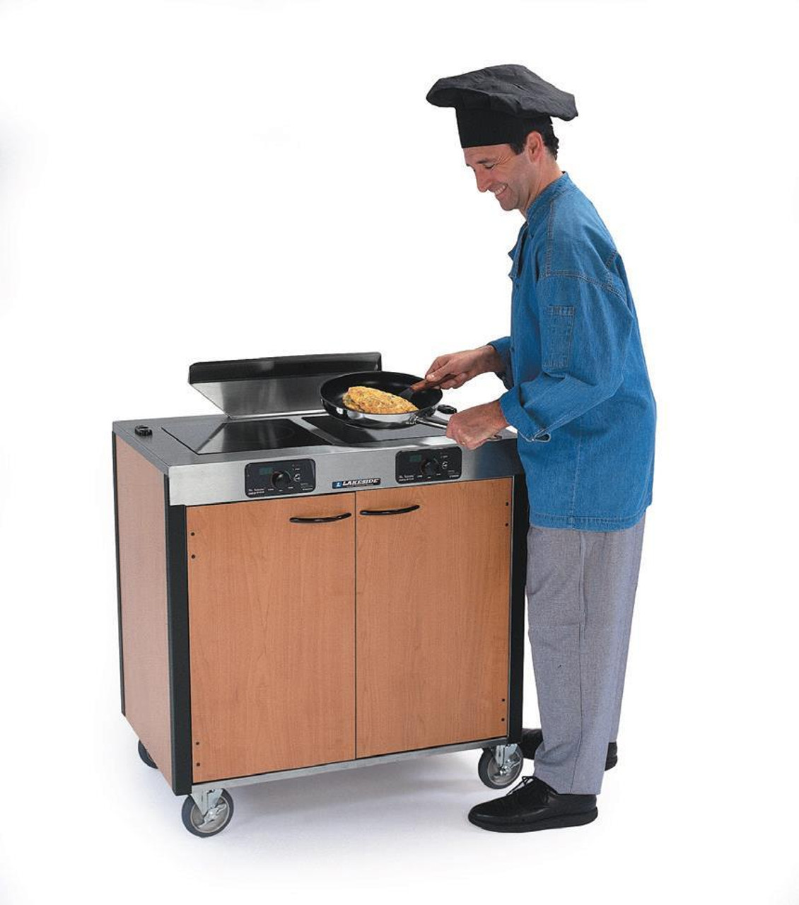 """Creation Express™ Station Mobile Cooking Cart, 34"""" x 22"""" x 40-1/2""""H, temperature range 90° - 440°F, LED control panel, (2) induction heat stove, (1) down draft filtration system, stainless steel top, stainless steel interior with laminated exterior, with doors, 5"""" swivel No-Mark® polyurethane casters (2) with brakes, ETL, Made in USA"""