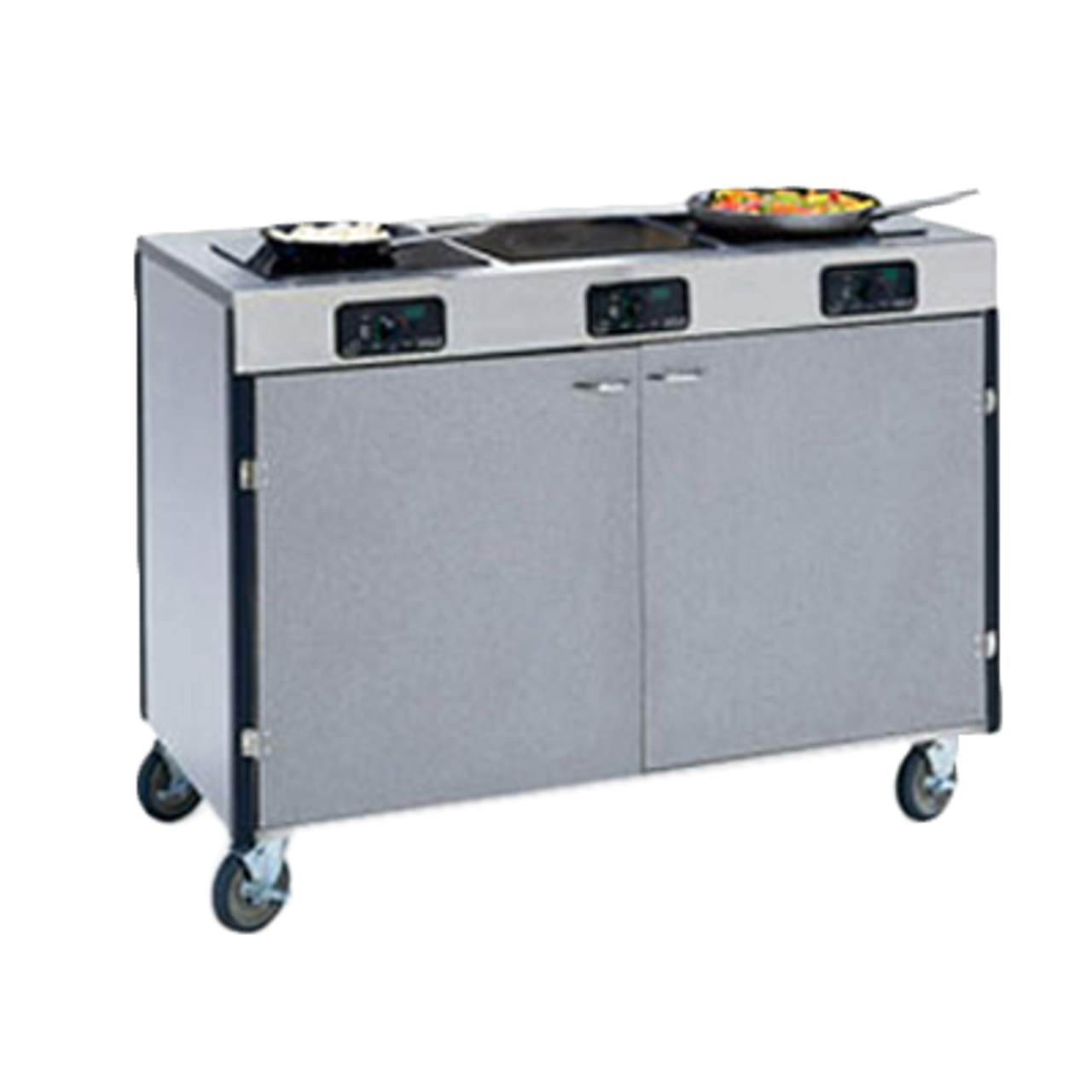 """Creation Express™ Station Mobile Cooking Cart, 48"""" x 22"""" x 35-1/2""""H, temperature range 90° - 440°F, LED control panel, (3) induction heat stove, without filtration system, stainless steel top, stainless steel interior with laminated exterior, interior shelf, with doors, 5"""" swivel No-Mark® polyurethane casters (2) with brakes, ETL, Made in USA"""