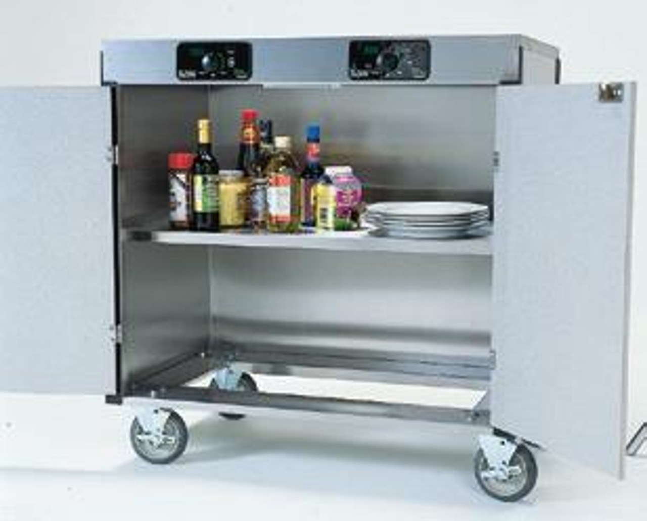 Creation Express™ Station Mobile Cooking Cart. Shown with Interior Storage Shelf.