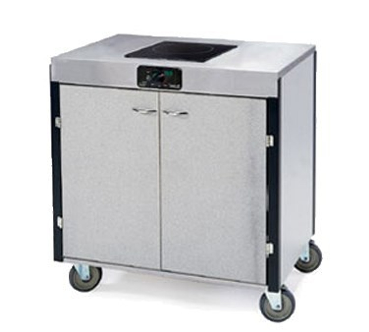 """MODEL 2060 Creation Express™ Station Mobile Cooking Cart, 34"""" x 22"""" x 35-1/2""""H, temperature range 90° - 440°F, LED control panel, (1) induction heat stove, without filtration system, stainless steel top, stainless steel interior with laminated exterior, interior shelf, with doors, 5"""" swivel No-Mark® polyurethane casters (2) with brakes, ETL"""