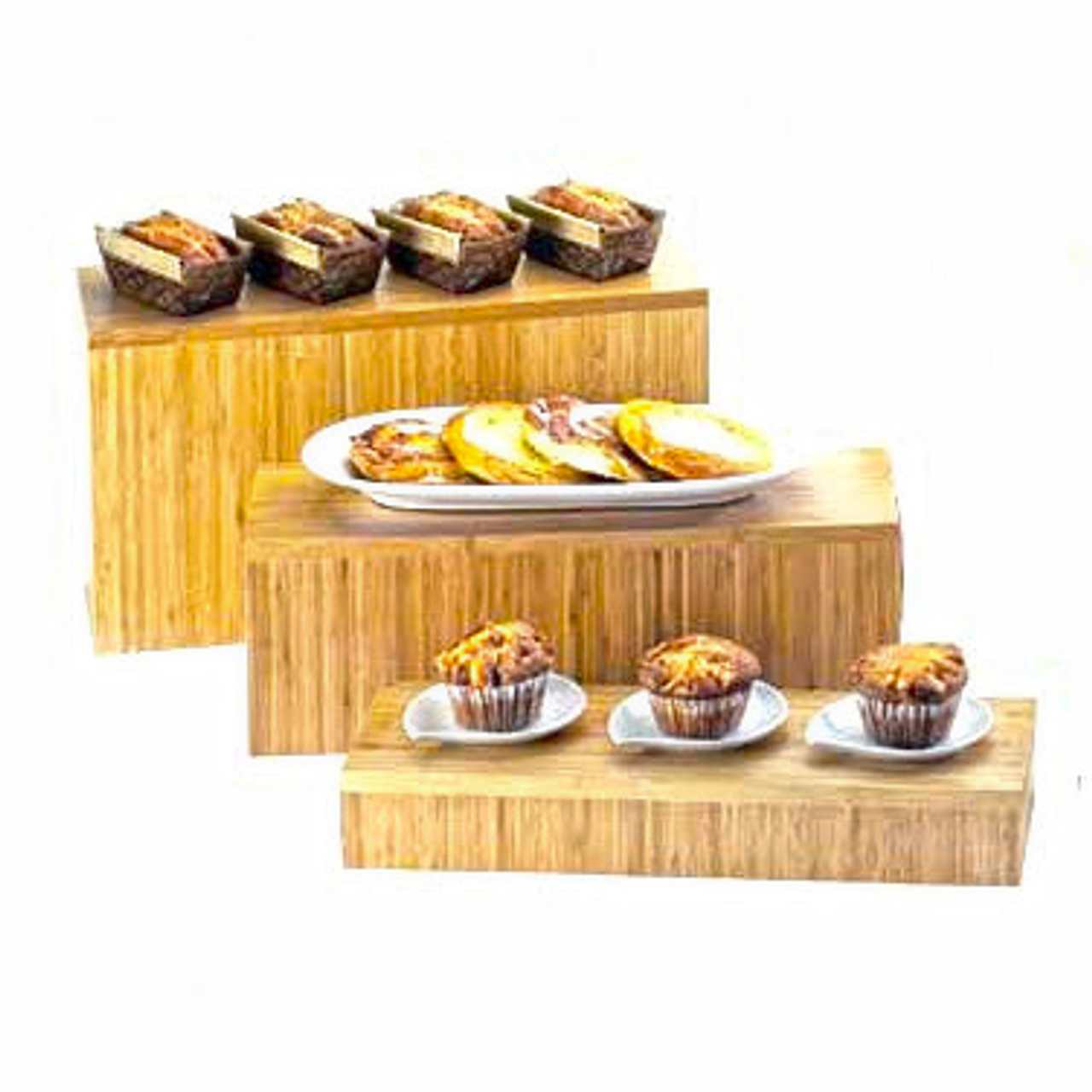 """Display Tray/Riser, 20""""W x 7""""D x 3""""H, rectangle, flip to utilize as deep tray, bamboo"""
