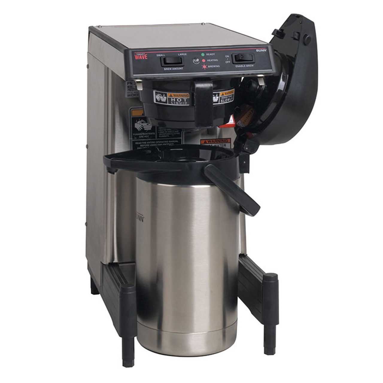 39900.0006  WAVE15-APS SmartWave® Low Profile Wide Base Coffee Brewer, automatic, 3.9 gallon/hour capacity, black plastic funnel, brews into 1.9L thermal carafe brewer using slide-out booster tray, energy-saver mode, analog switches with red & green LED, (airpot sold separately), adjustable legs, 120v/60/1-ph, 1350w, 11.3 amps, cord attached, UL, NSF