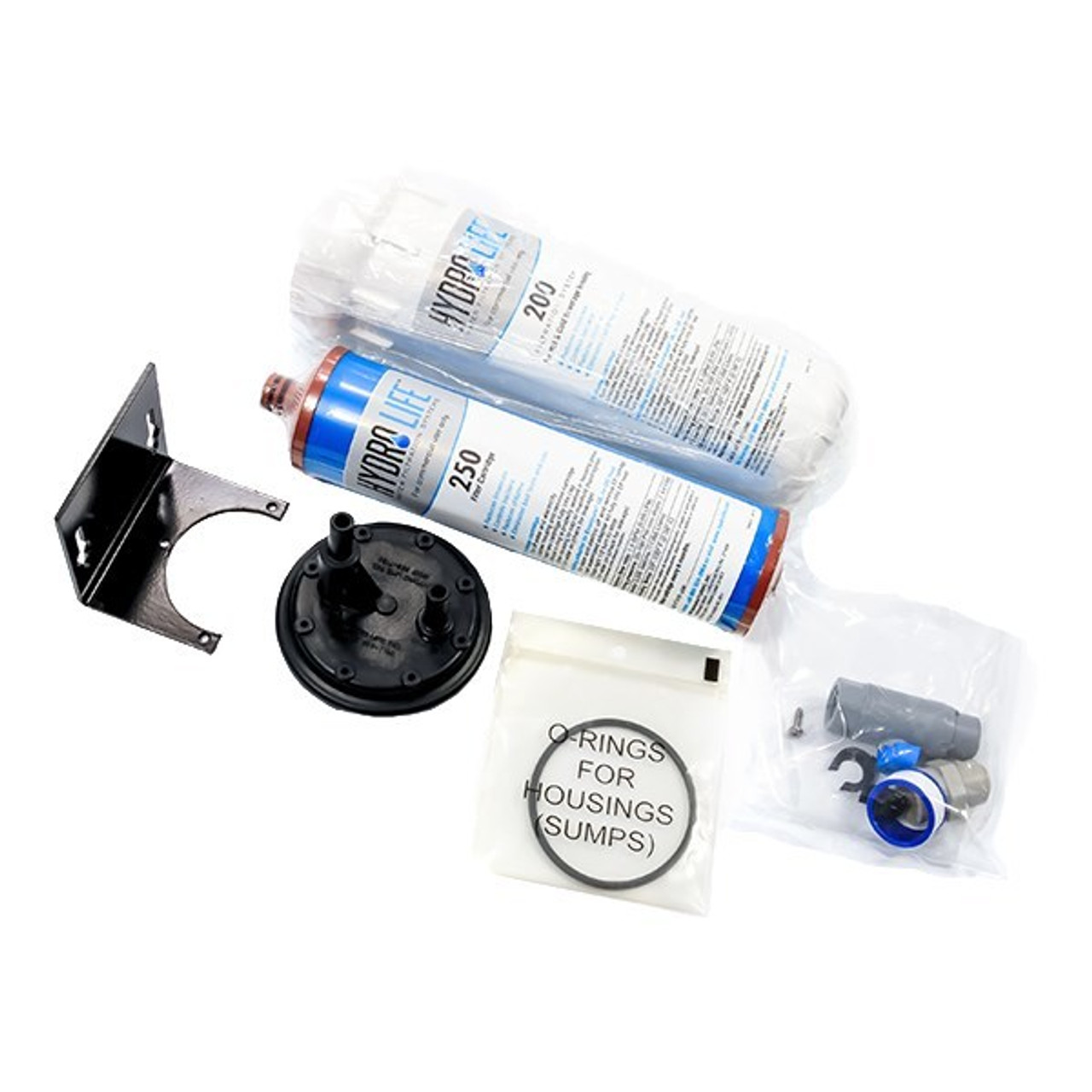 """200 Series Water Filter System, 9000 gallons (34,069 liters) capacity, KDF® triple water processing, removes or reduces limescale/chlorine/lead/algae & slime/bad taste & odor/bacteria, 100° F max temperature, includes: model 52622 cartridge, bracket, o-ring, 20-100 PSI, 1.5 GPM, 3/8"""" female NPT (for coffee urns, slush & OCS equipment, ice machines, water fountains, hot & cold cup vending equipment), NSF"""