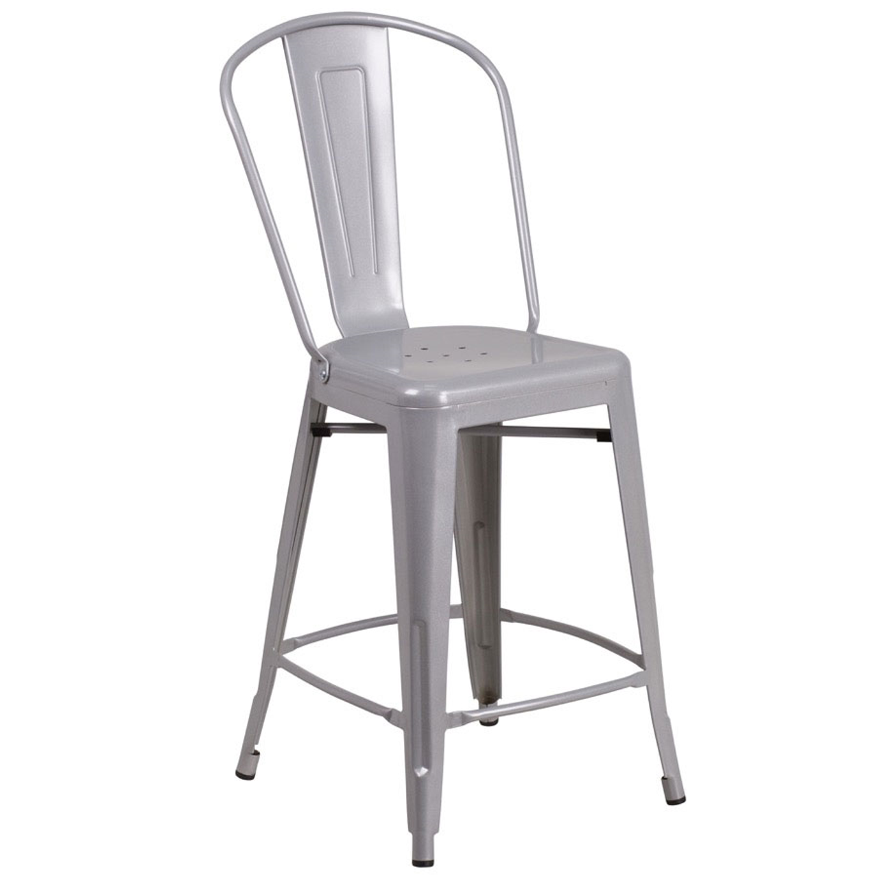 Bar Stool, armless, fan back, steel seat, steel frame, footrest, powder coat finish, bright silver