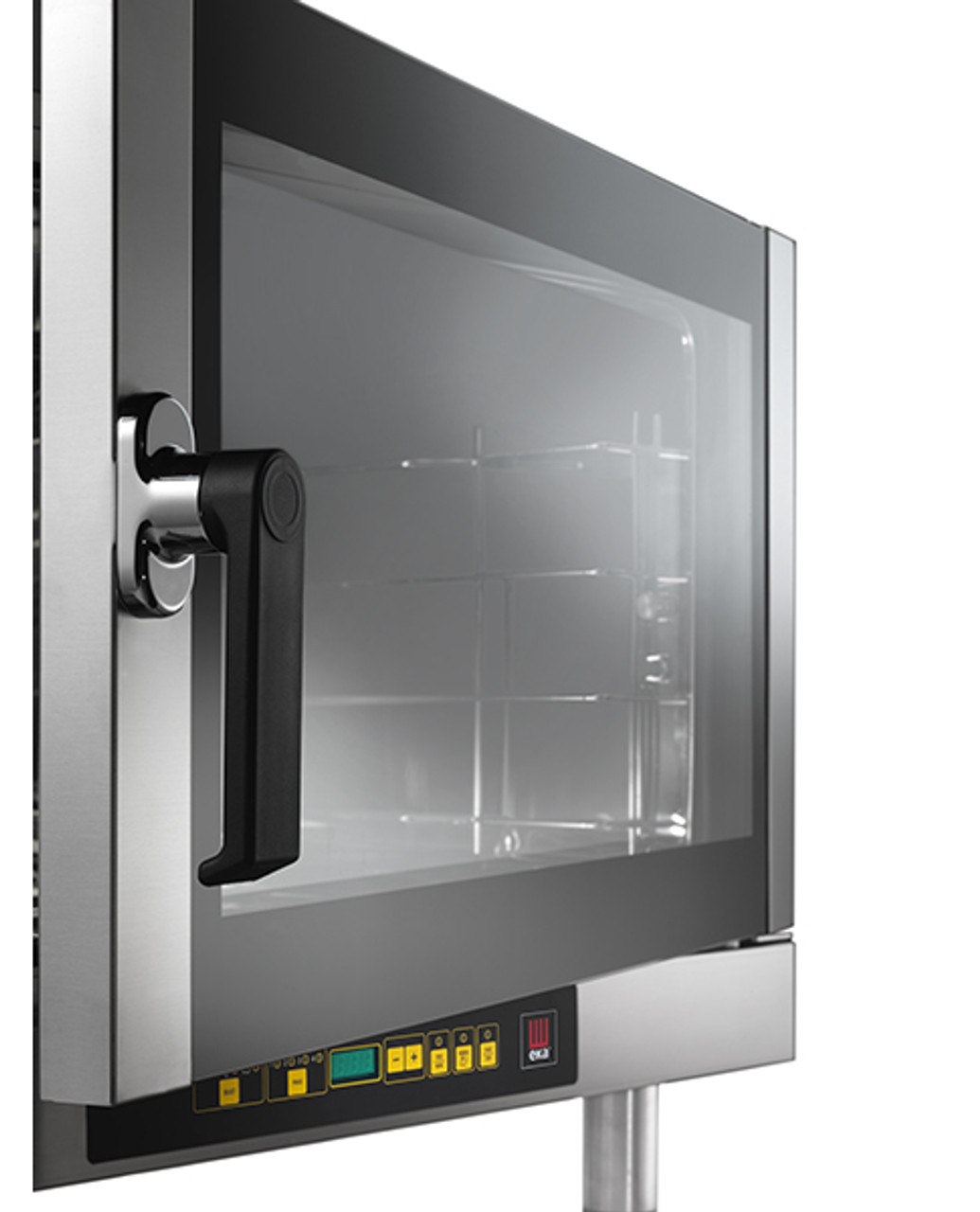 "Eka Evolution 4-tray full-size (18x26) electric convection oven with humidity with digital controls. Left-opening (right-hinged) door. Operates on 208v, choose single-phase or three-phase  power. Includes four 18"" x 26"" grids, electrical cord, components necessary to connect to water supply, and standard drain components."
