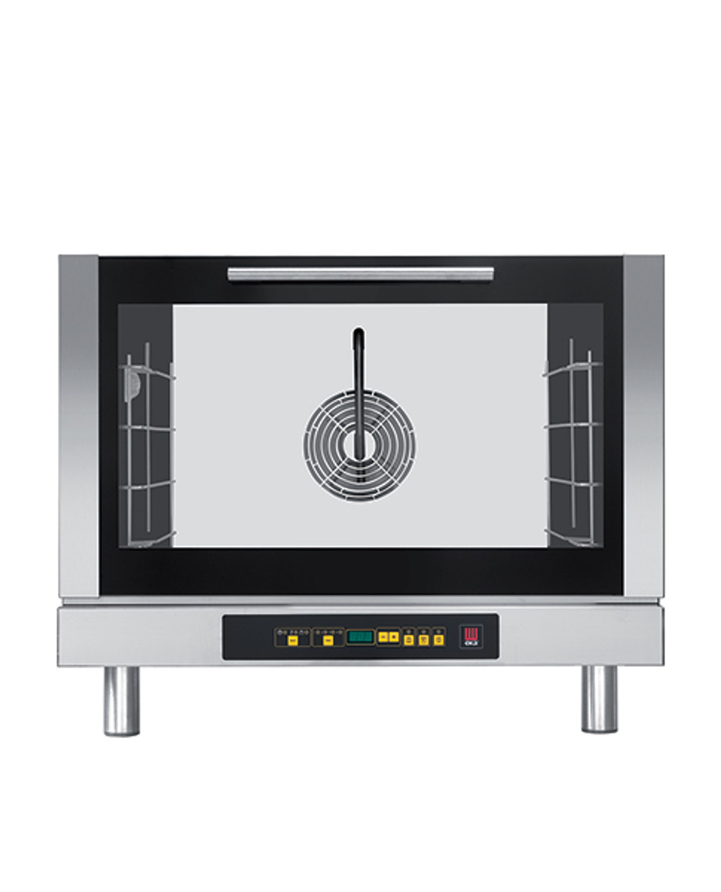 """Eka Evolution 4-tray full-size (18x26) electric convection oven with humidity with digital controls. Top-opening (bottom-hinged) door. Operates on 208v single-phase power chose single or three-phase option. Includes four 18"""" x 26"""" grids, electrical cord, components necessary to connect to water supply, and standard drain components."""