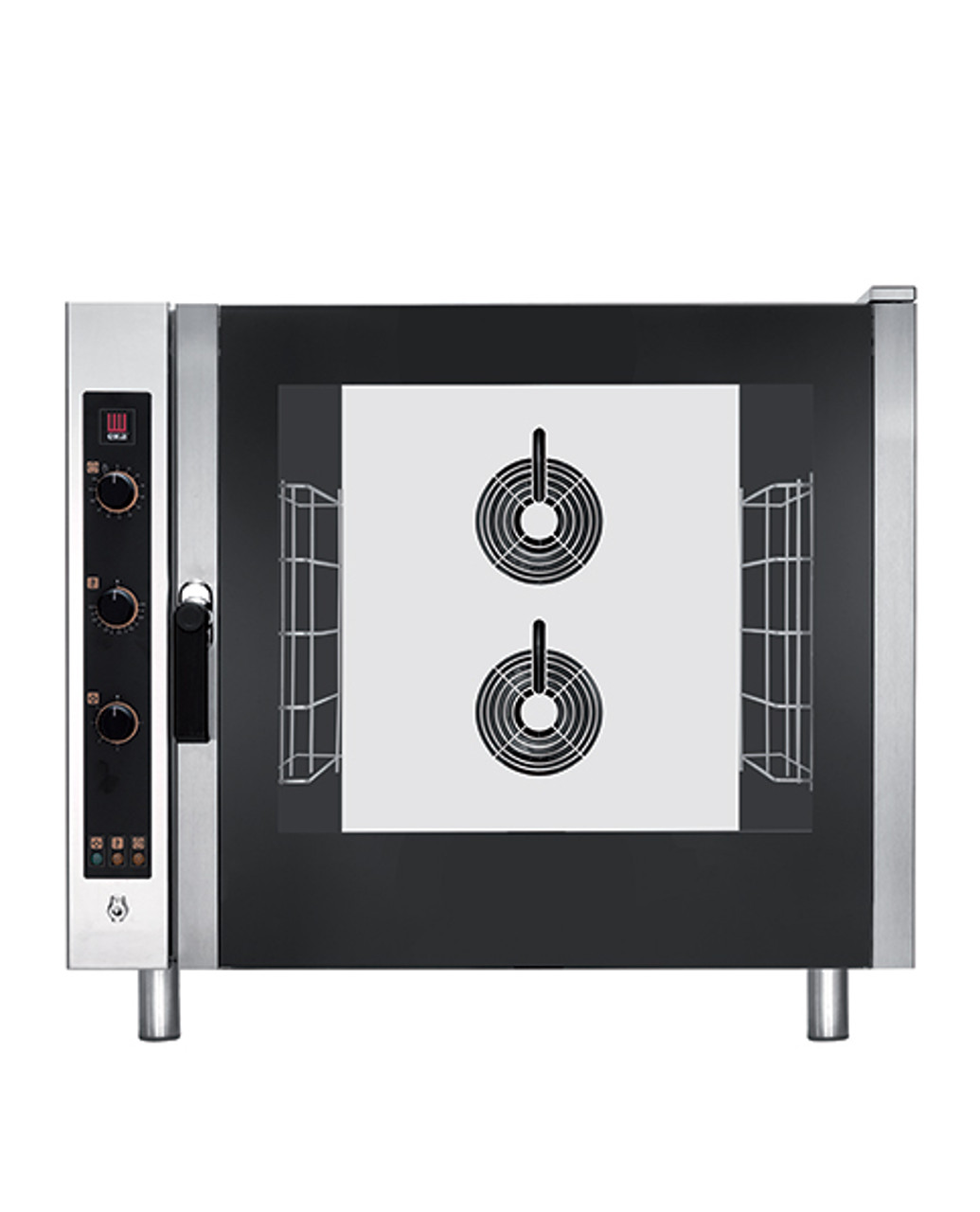 "Eka Evolution 6-tray full-size (18"" x 26"") electric combi-oven with electro-mechanical controls.  Holds 6 full-size pans or up to 12 half-size trays. 6 full-size grids, electrical cord, components necessary to connect to water supply, and standard drain components included."