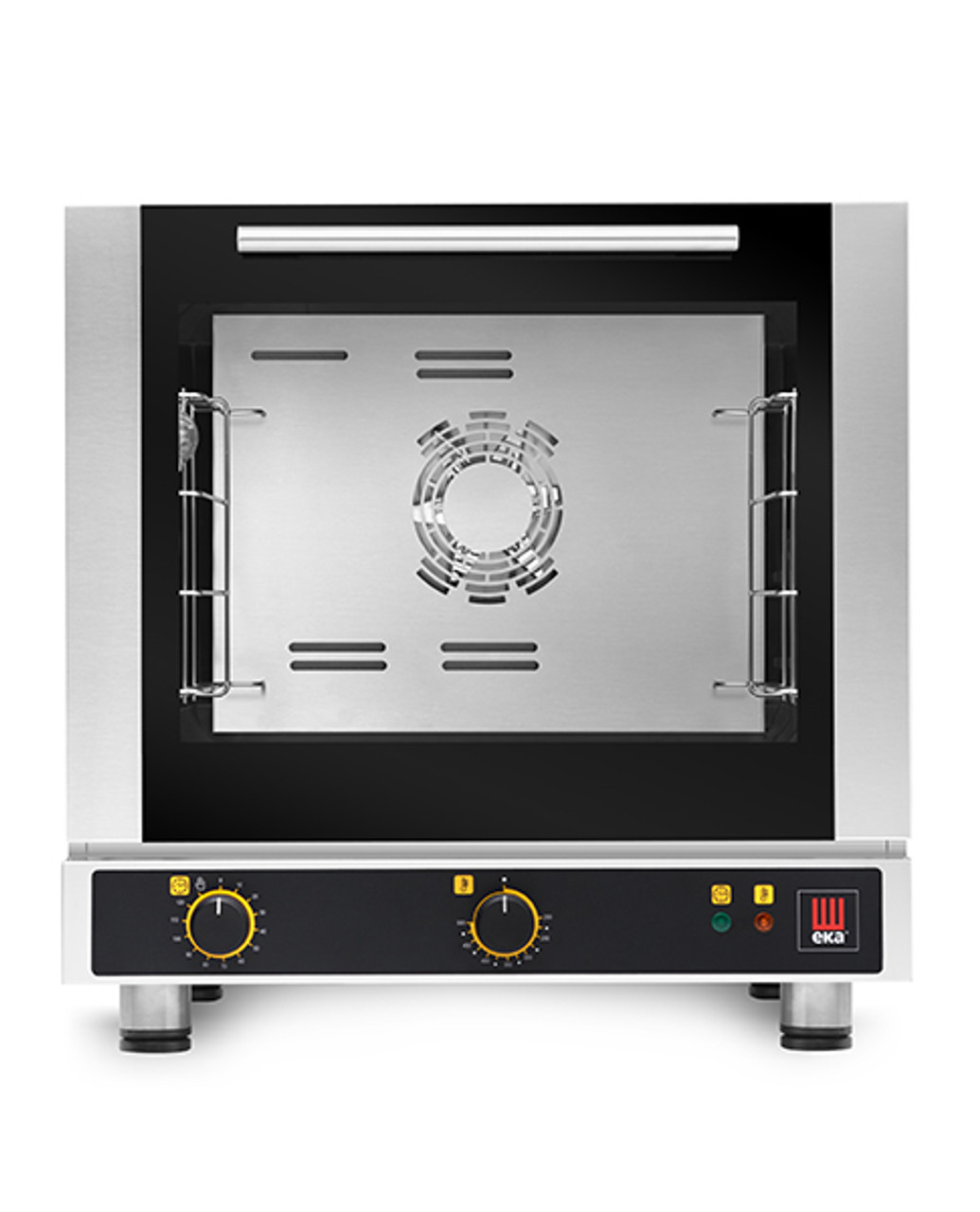 """Eka 4-tray, half-size (13x18) convection oven with electro-mechanical control.  Stainless steel construction.  Operates on 120v (208v is available at EKFA412-S2).  Four 13"""" x 18"""" grids included."""